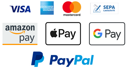 Fast and secure payment with credit card, Amazon Pay, Apple Pay or PayPal